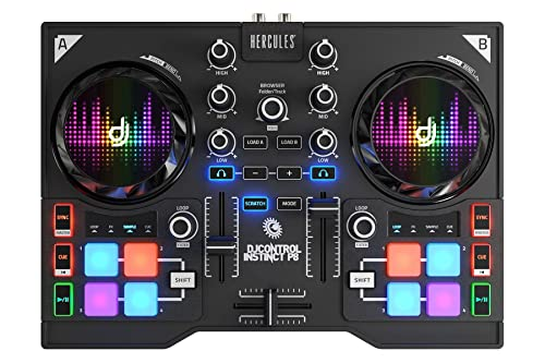 Hercules DJControl Instinct P8, ultra-mobile USB DJ Controller with 8 sample pads and Audio Outputs for use with your Headphones and your Speakers
