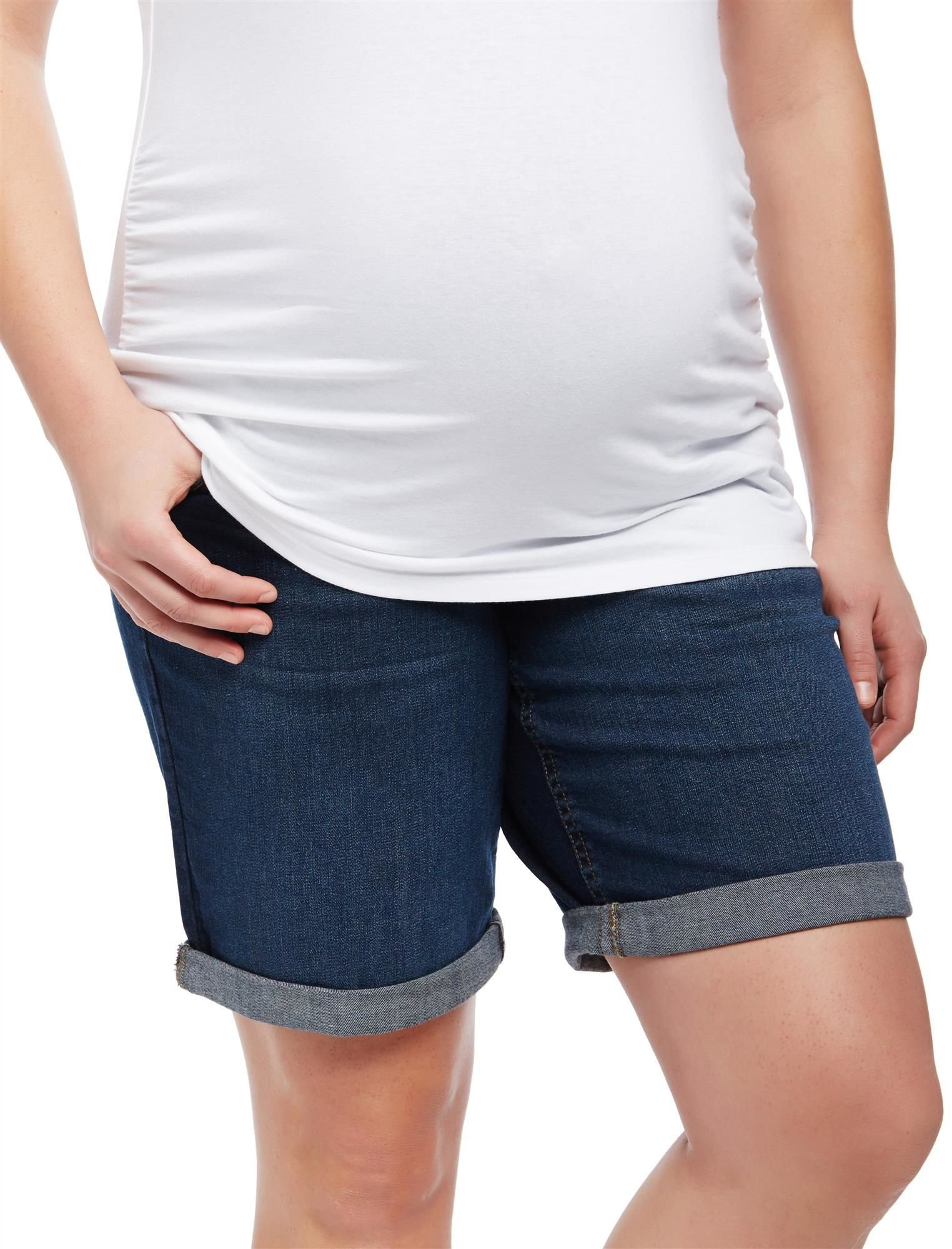 Motherhood Plus Size Secret Fit Belly Roll Hem Maternity Shorts
