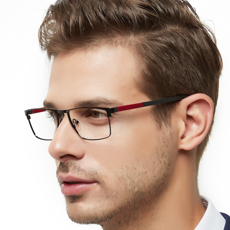OCCI CHIARI Rectangle Full-Rim Metal Optical Glasses Acetate Arm for Bussiness Men(Black-Red, 54)