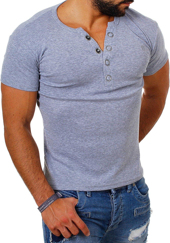 Young /& Rich Herren Uni feinripp T-Shirt mit Knopfleiste /& tiefem Ausschnitt deep V-Neck einfarbig Big Buttons gro/ße Kn/öpfe 1872