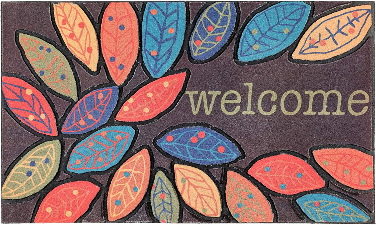 CHICHIC Door Mat Welcome Mat 17x 30 Inch Front Door Mat Outdoor for Home Entrance Outdoor Mat for Outside Entry Way Doormat Entry Rugs, Heavy Duty Non Slip Rubber Back Low Profile, Leaves