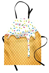 Ambesonne Food Apron, Cartoon Like Image of and Melting Ice Cream Cones Colored Sprinkles Artistic Print, Unisex Kitchen Bib Apron with Adjustable Neck for Cooking Baking Gardening, Multicolor