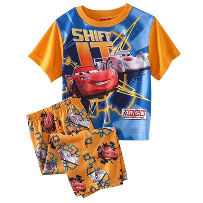 Disney Cars Toddler Boys 2pc pijamas de manga corta cambian de color naranja (2T)