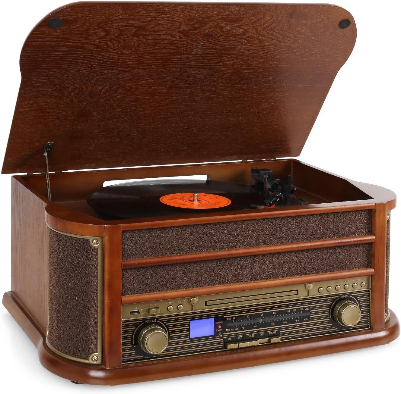 auna Belle Epoque 1908 - estéreo, Toca Discos de Vinilo, accionamiento por Correa, Altavoces estéreo, Radio, Receptor FM / Am, Ranura USB