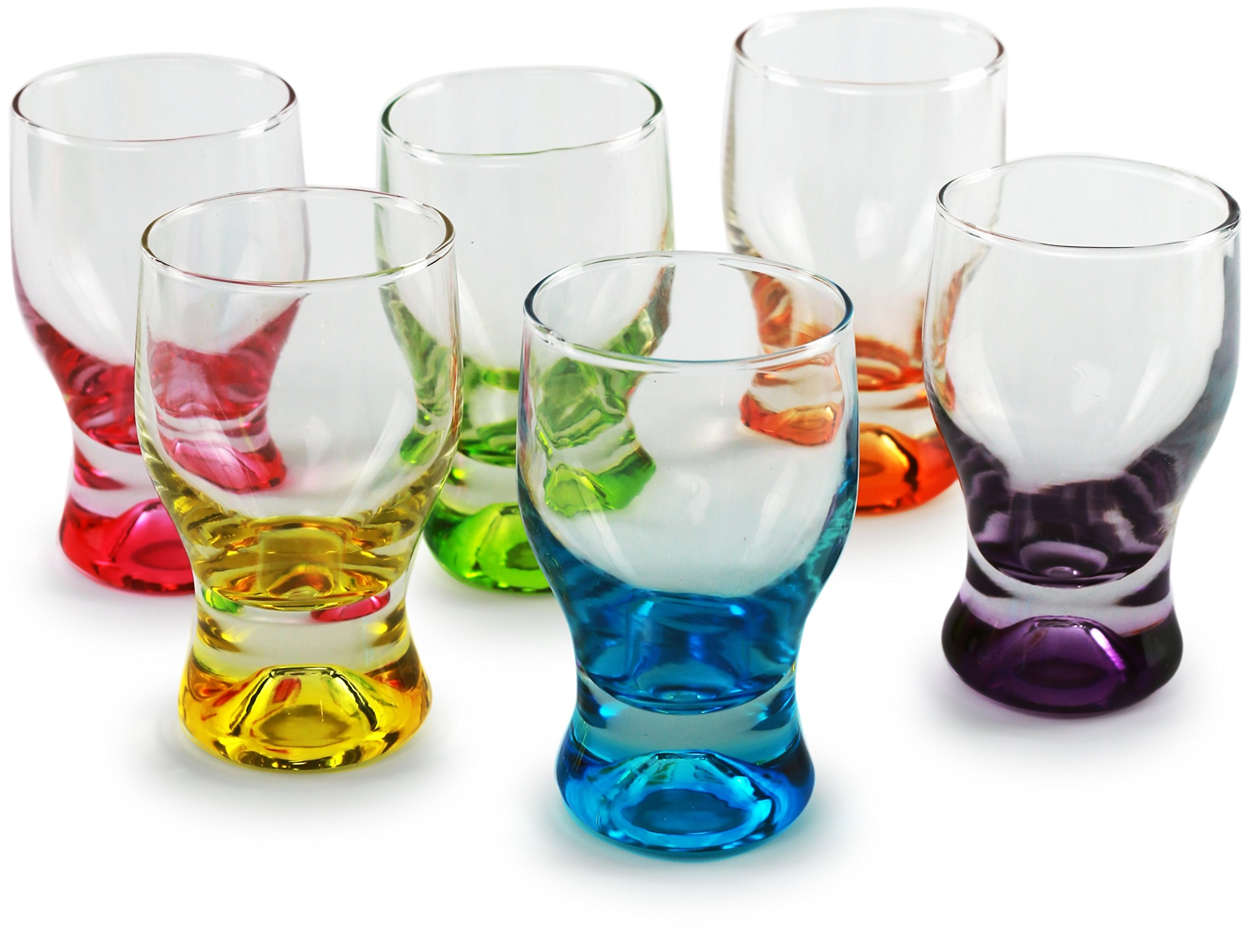 Circleware 42796 Tipsy Shot Glasses, Set of 6, 1.7 Ounce, Assorted Colored Bottoms Limited Edition Drinking Cups for Whiskey, Vodka, Brandy, Bourbon and All Types of Beverage