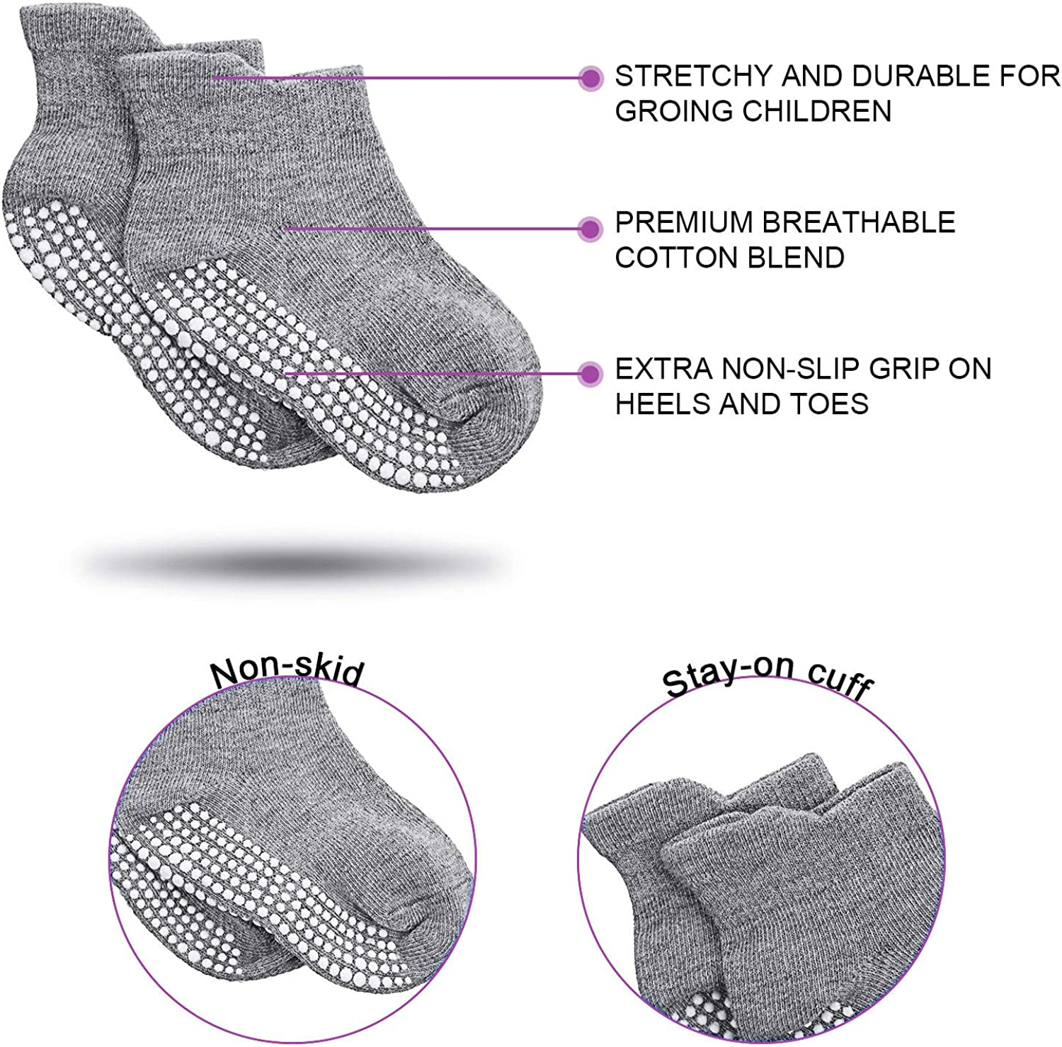 White and Light Gray 24 Pairs Baby Non Slip Socks Grip Ankle Socks with Non Skid Soles for Infants Black M