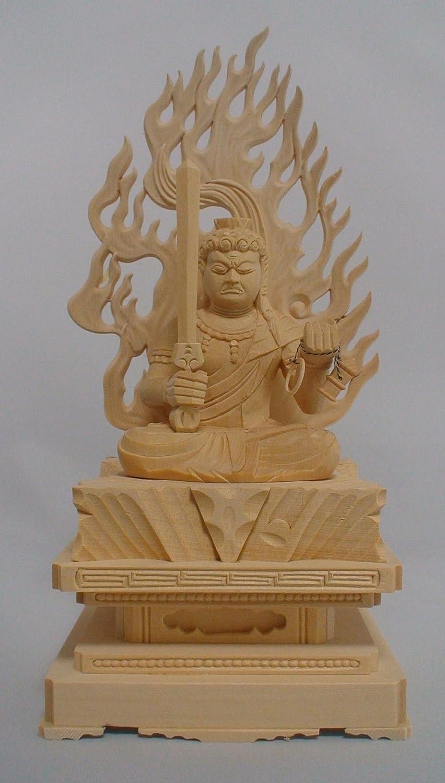 木彫仏像/不動明王座像火炎光背四角台2.0寸桧木 ヒノキ 木彫り ぶつぞう B0158QFX4I