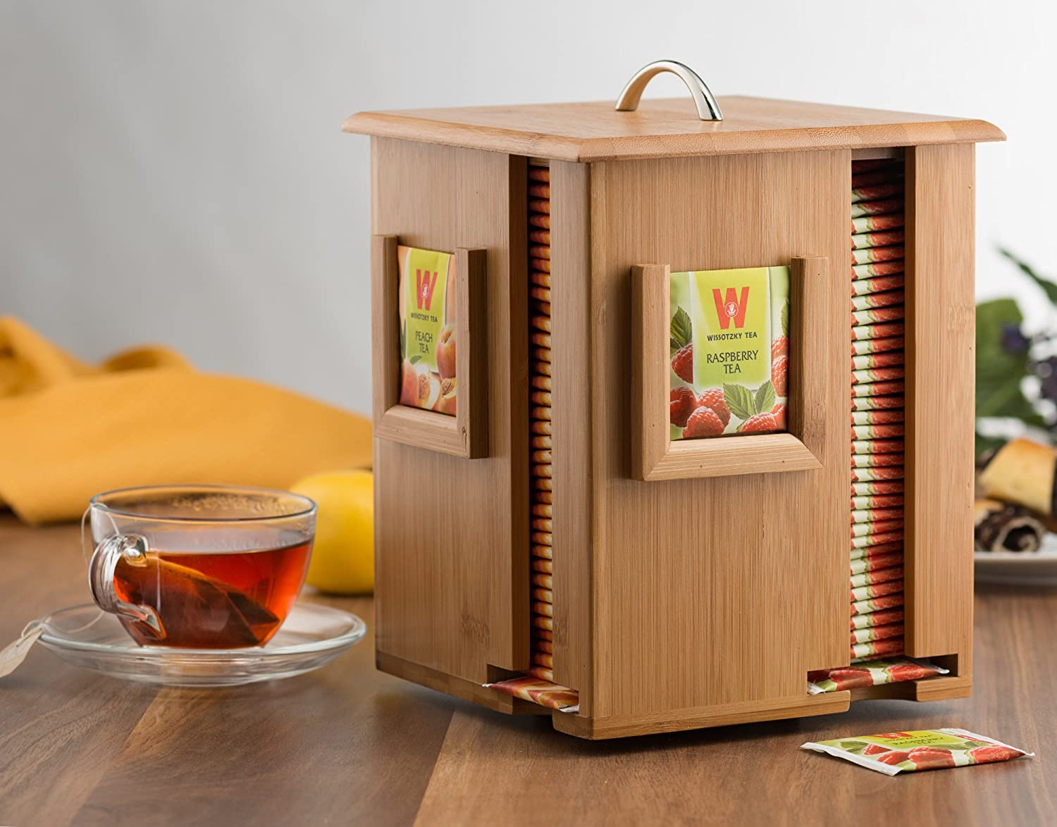 Bamboo Rotating Tea Holder Organizer - Wood Carousel Spinning Tea Storage Box - Organize 160 Tea Bags, 4 Compartments 40 Tea Bags in Each - Perfect Valentine's Day Gift