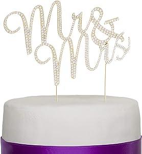 Ella Celebration Mr and Mrs Wedding Cake Topper Gold Rhinestone Monogram Decoration Mr & Mrs (gold)