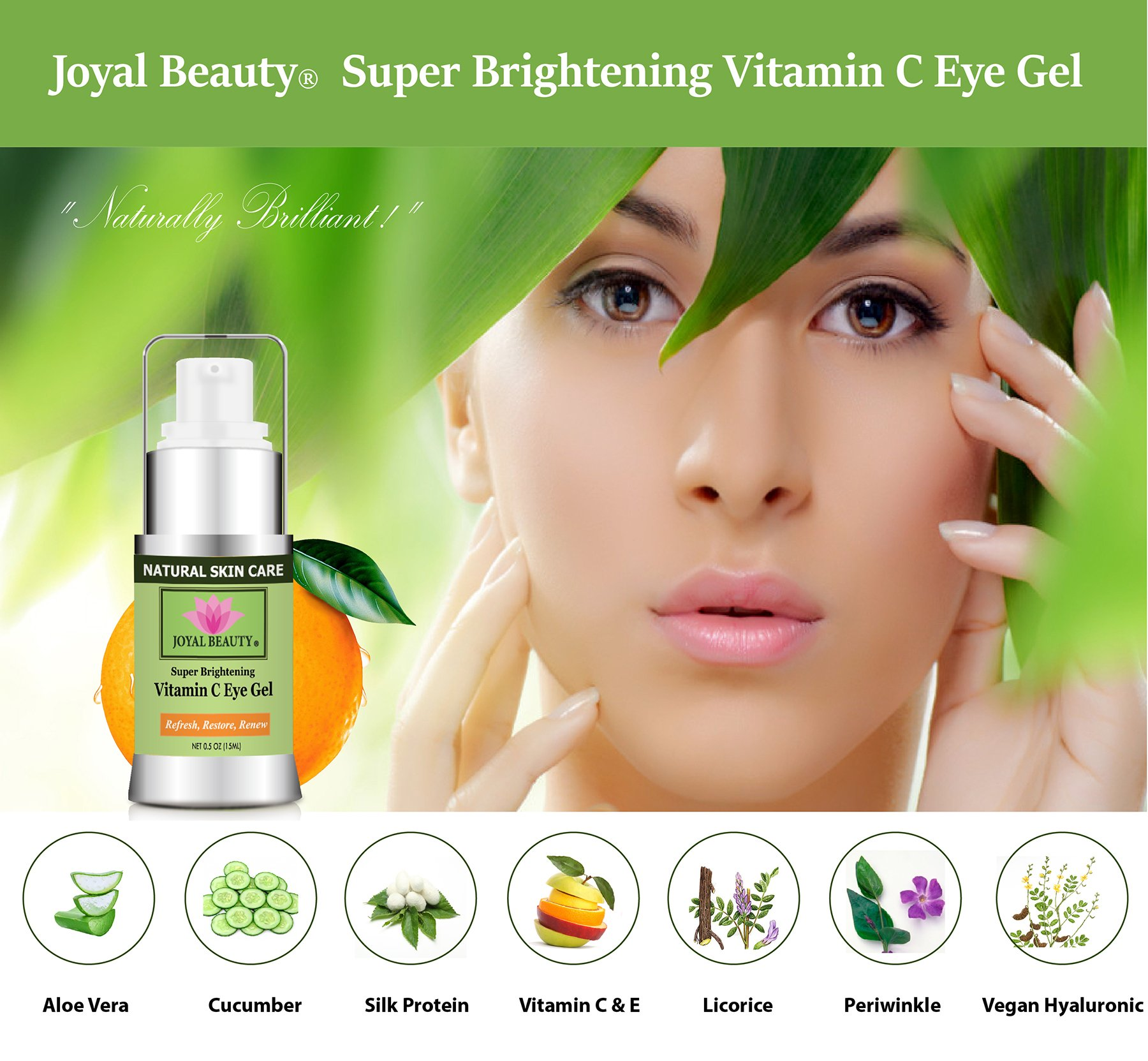 Joyal Beauty Best Organic Eye Cream Gel Moisturizer for Dark Circles and Puffiness Bags Anti Aging Fine Lines and Wrinkles with Hyaluronic Acid Vitamin C Caffeine Peptide Cucumber for Men and Women by Joyal Beauty (Image #2)
