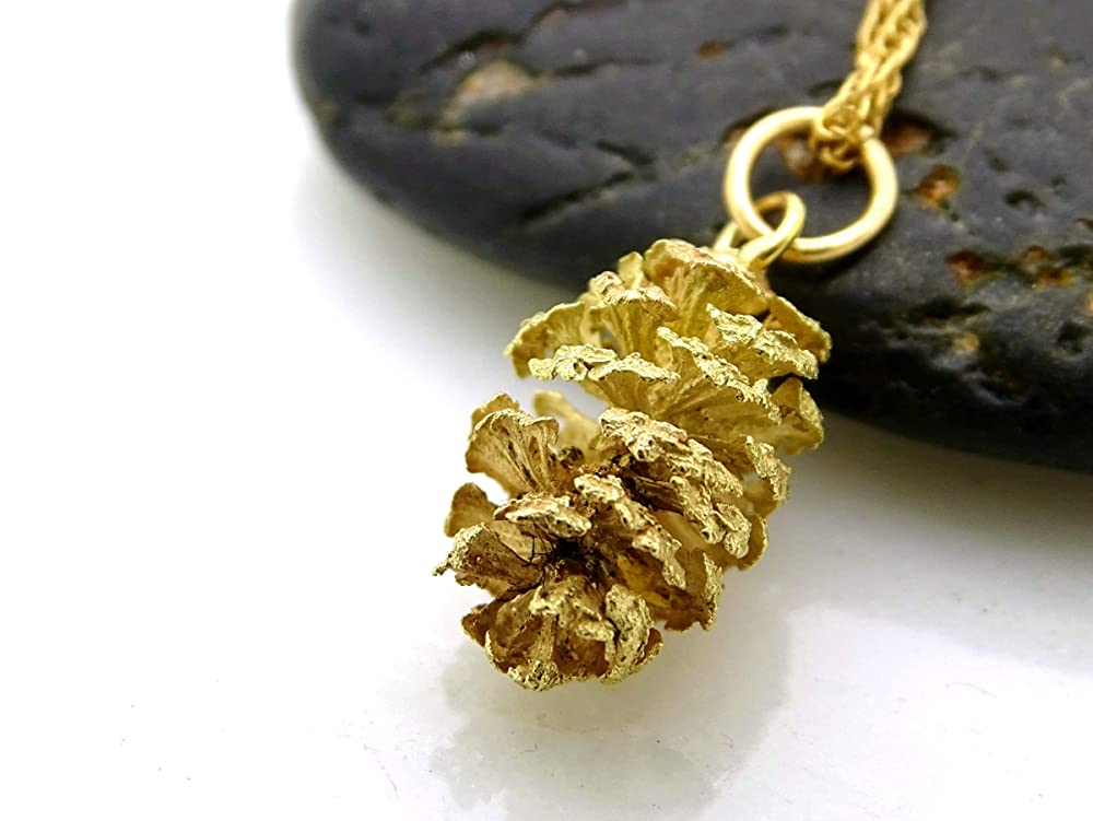 Pine Tree Necklace Forest Necklace for Woodland Lovers Gold Pinecone Necklace Fir Cone Pendant Necklace Simple Everyday Charm Necklace.
