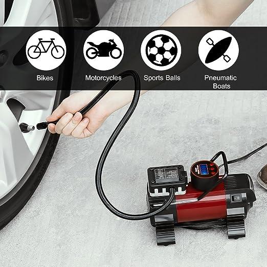 Omorc - Bomba multifunción portátil 12 V DC con alta luminosidad LED para compresores de aire de metal para coches, pelotas y otros artículos hinchables: ...