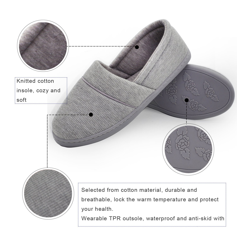Femmes Coton Knit Anti-Slip Maison Pantoufles Maison Lavable