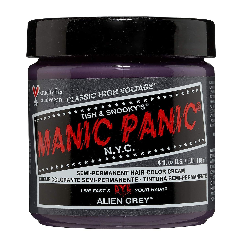 Manic Panic Alien Grey Hair Dye – Classic High Voltage - Semi-Permanent Hair Color - Cool, Medium Slate Grey Shade - Vegan, PPD & Ammonia-Free - For Coloring Hair on Women & Men