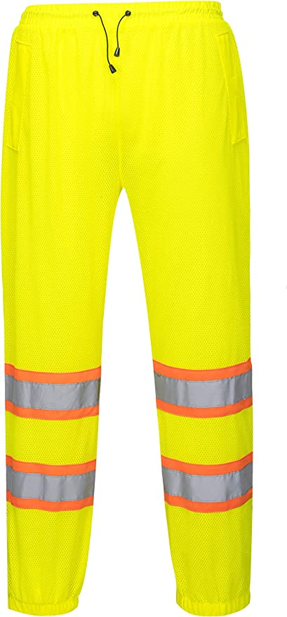 ANSI Class E Work Pants For Men and Women Brite Safety Standard Two Tone Mesh Safety Pants 4XL//5XL, Yellow