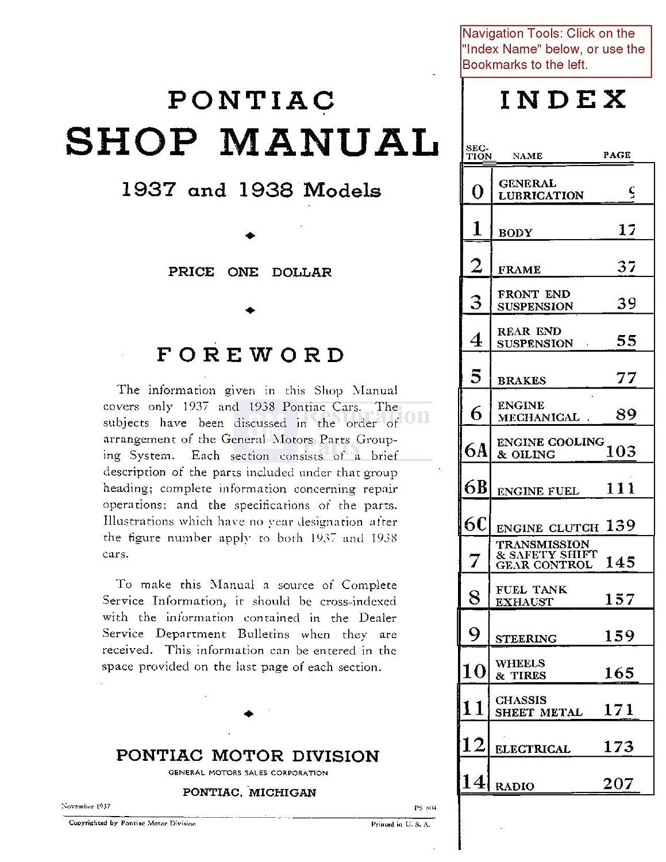 1937 1938 Pontiac Shop Service Repair Manual Book Engine Fire Drivetrain Diagram Electrical Automotive
