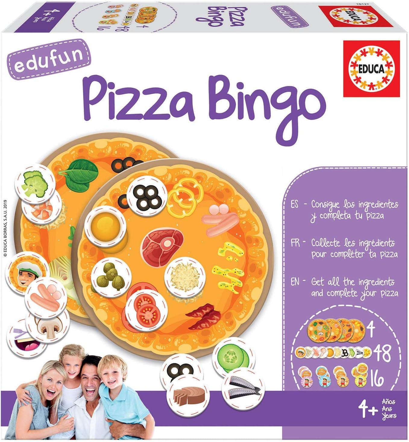 Educa - Edufun Pizza Bingo, Juego de mesa para niños: Prepara tu pizza jugando al Bingo, a partir de 24 meses (18127): Amazon.es: Juguetes y juegos