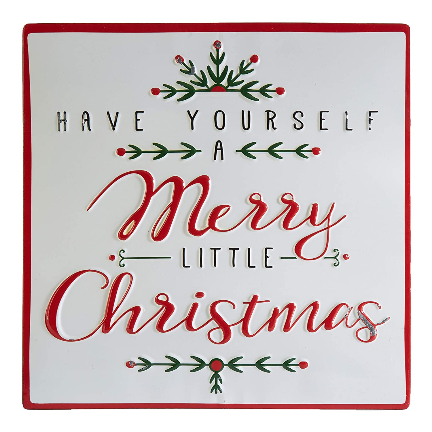 RAZ Imports Merry Christmas Sign - Vintage Look Metal Sign - Holiday Decor Christmas Signs - Have Yourself A Merry Little Christmas