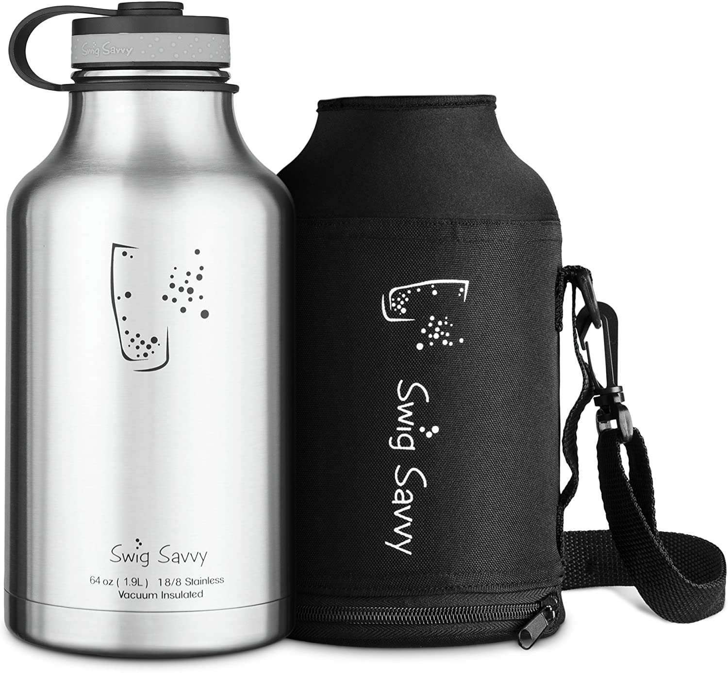 Stainless Steel Vacuum Insulated Keep Beverages Cold 64-Ounce Wide Mouth Growler