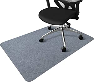 "SALLOUS Office Chair Mat, Hard Floor Protector Mat for Hardwood Floors, 0.16"" Thick 55""x 35"" Low-Pile Desk Rug for Home, Indoor Doormat for Entry (Light Gray)"