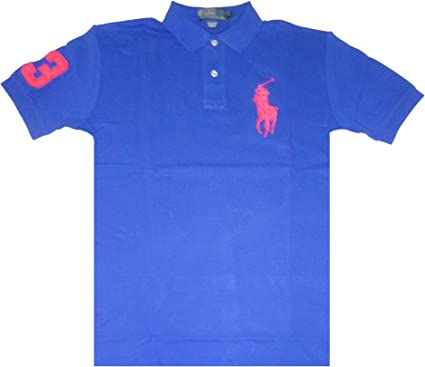 Ralph Lauren Polo Mens Short Sleeve Big Neon Pony Shirt Royal Blue ...