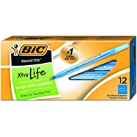 BIC Round Stic Xtra Precision Ballpoint Pen, Fine Point (0.8mm), Blue, 12-Count