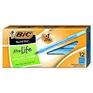 BIC Round Stic Xtra Life Ballpoint Pen, Medium Point (1.0mm), Blue, 12-Count
