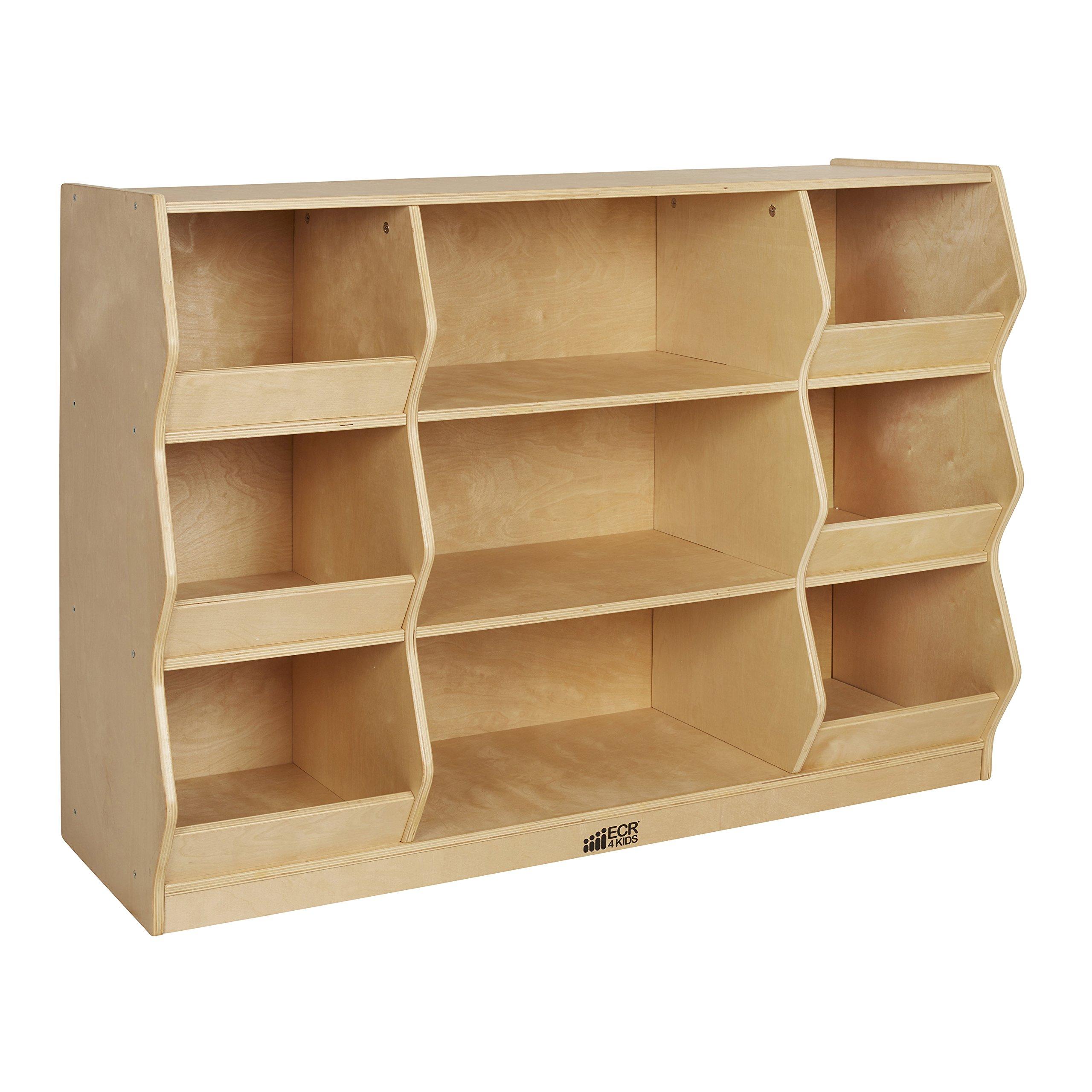 ECR4Kids Birch Hardwood School Organizer and Play Storage Cabinet, Natural, 35'' H