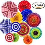 12pcs Hanging Fiesta Paper Fan Lanterns Decoration, Mexican Fiesta/Carnival/Kids Party/Birthday/Christmas Decor,Party/Events Decor, Home Decor Supplies Flavor