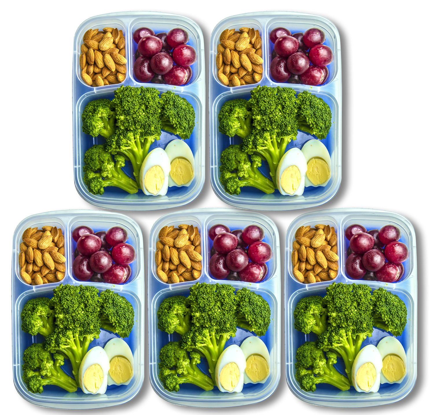 Amazon Orgalif Lunch Container For Kids 3 Comparment Reusable Plastic Bento Box Set Of 5 Kitchen Dining