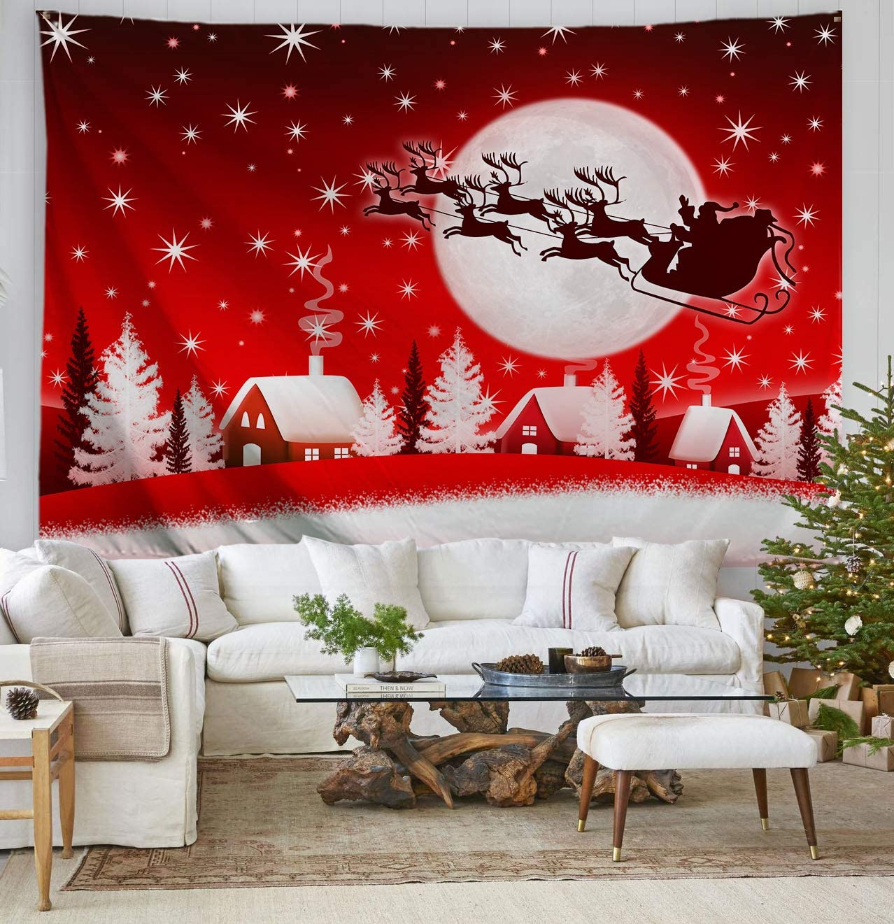 ORTIGIA Christmas Tapestry Wall Hanging Home Decor,Elk Pulling Sleigh and Santa Claus,Tapestry for Bedroom,Kids Room,Living Room,Dorm Polyester Fabric Needles Included- 90 W x 71 L-Red Moon