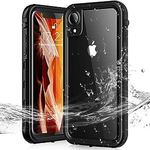 Janazan Waterproof iPhone XR Case, IP68 Full Sealed Underwater Protective Case, Waterproof Shockproof Snowproof Dirtproof for Outdoor Sports (Black)
