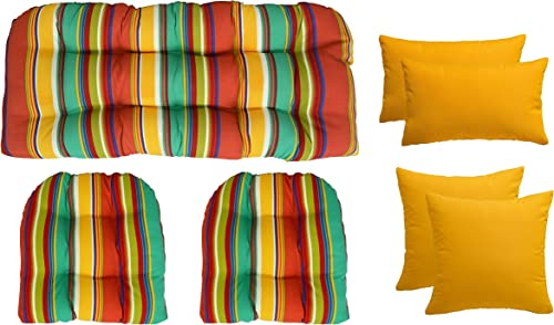 RSH D cor Indoor Outdoor Wicker Pillow Set – Bright Colorful Stripe 3 Piece Wicker Set in 2 Sizes 4 Bright Solid Pillows in Your Choice of Colors Yellow Pillows, 41 x 19 19 x 19 Wicker Set