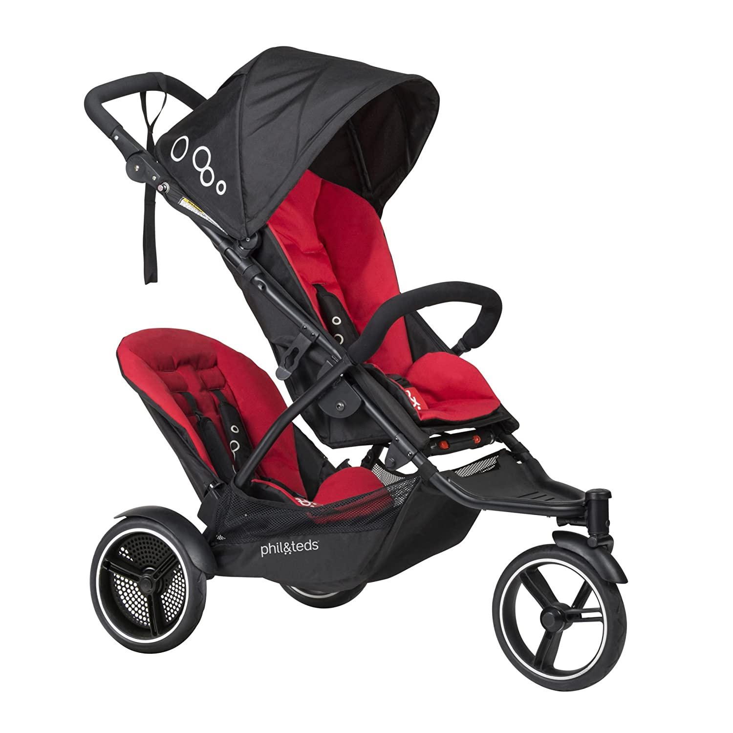 phil teds Dot Compact Inline City Stroller with Double Kit, Chili Compact Frame with Full Size Seat Newborn Ready Parent Facing Seat Included Compact, One Hand Fold Puncture Proof Tires