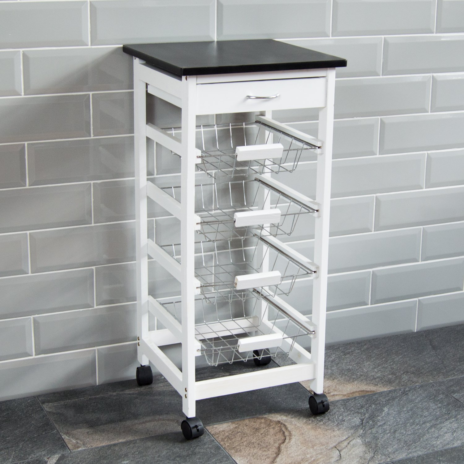 Retro Kitchen 4 Tier Space Saving Trolley Tea Cart Food