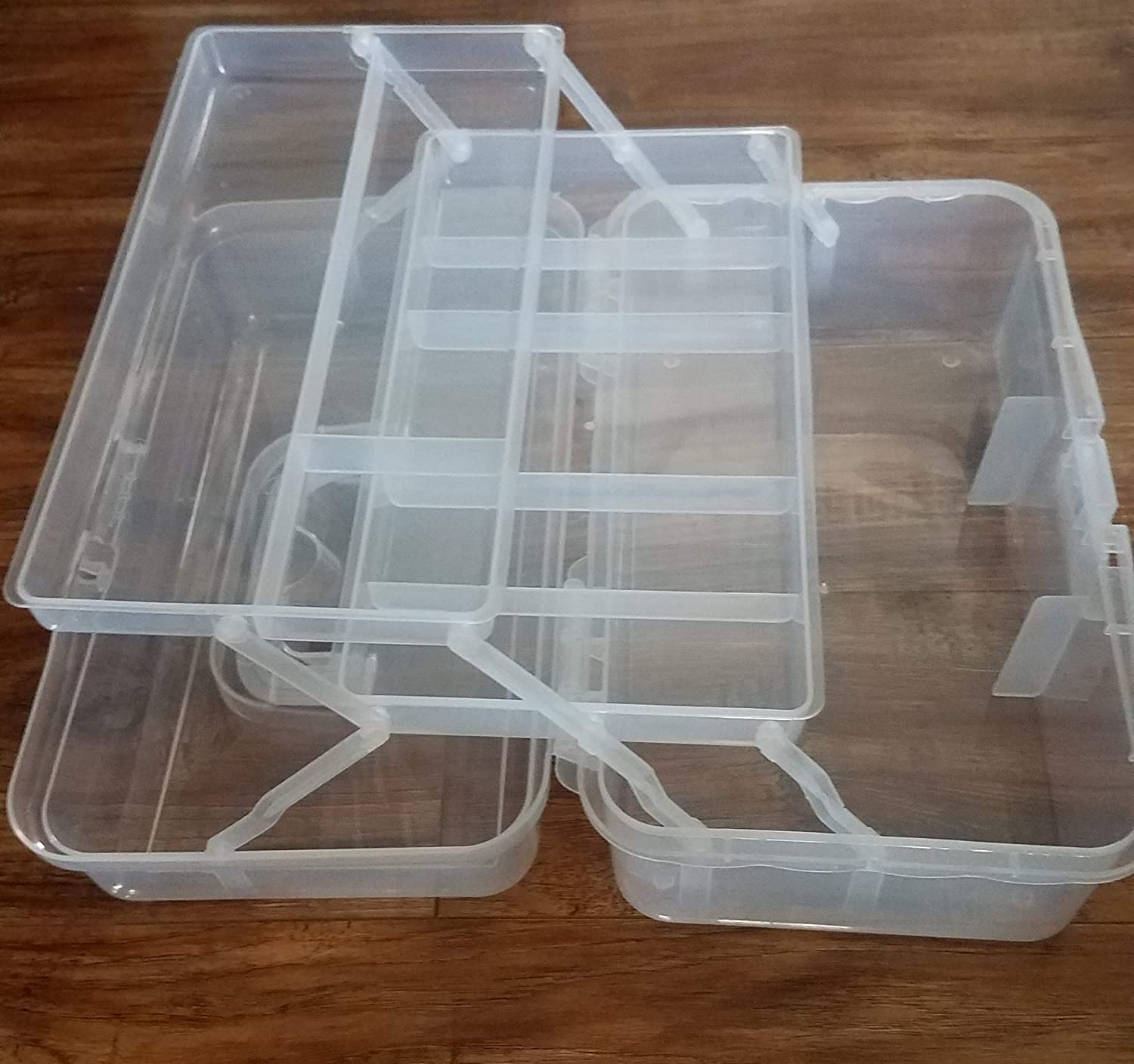13 inches Clear Plastic Two Tray Art Supply Craft Storage Tool Box