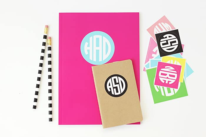 Personalized school supplies round monogram stickers notebook sticker personalized folder labels kids name stickers back to