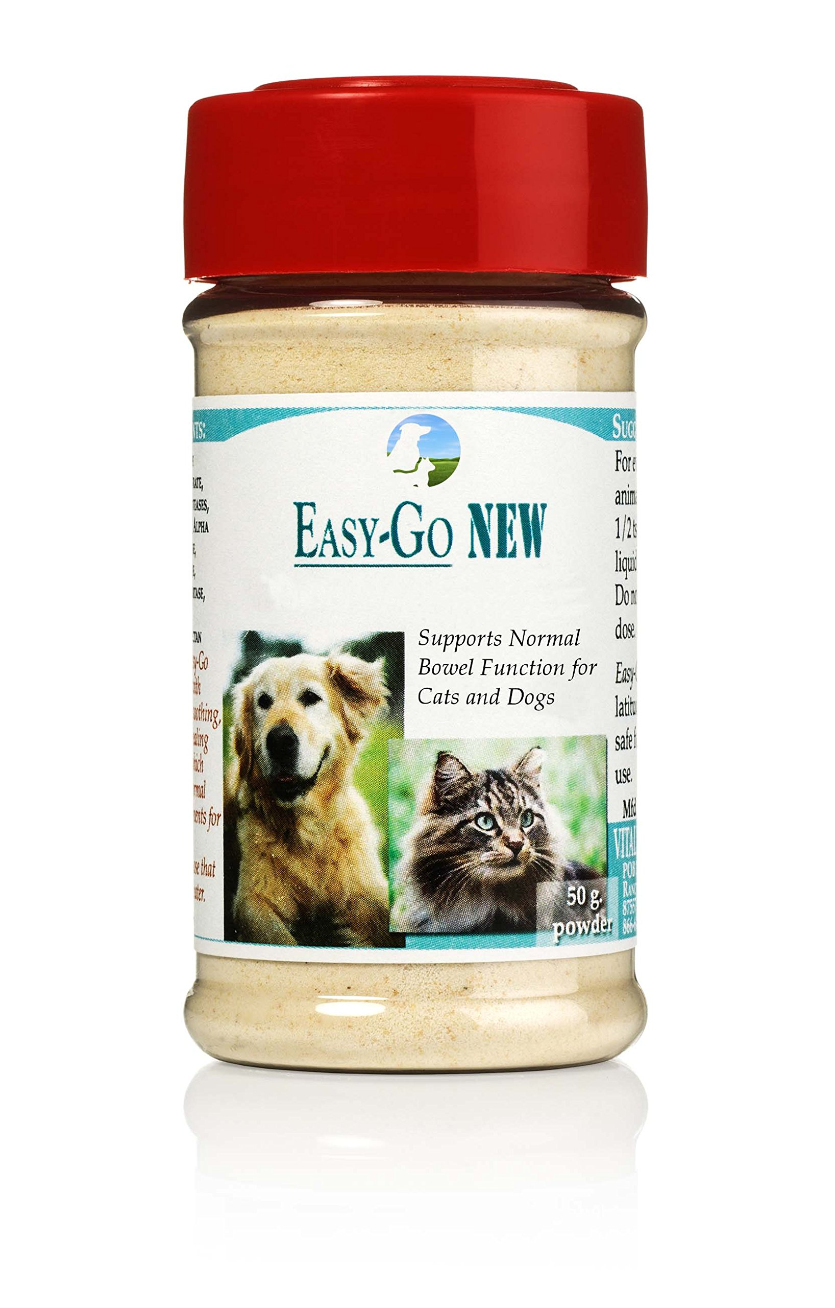Vitality Science Easy-Go Supplement for Cats and Dogs | Supports Normal Bowel Function | Relieves Constipation | Promotes Healthy Digestive System | Easy to Digest | 100% Natural & Additive Free (50g) by Vitality Science