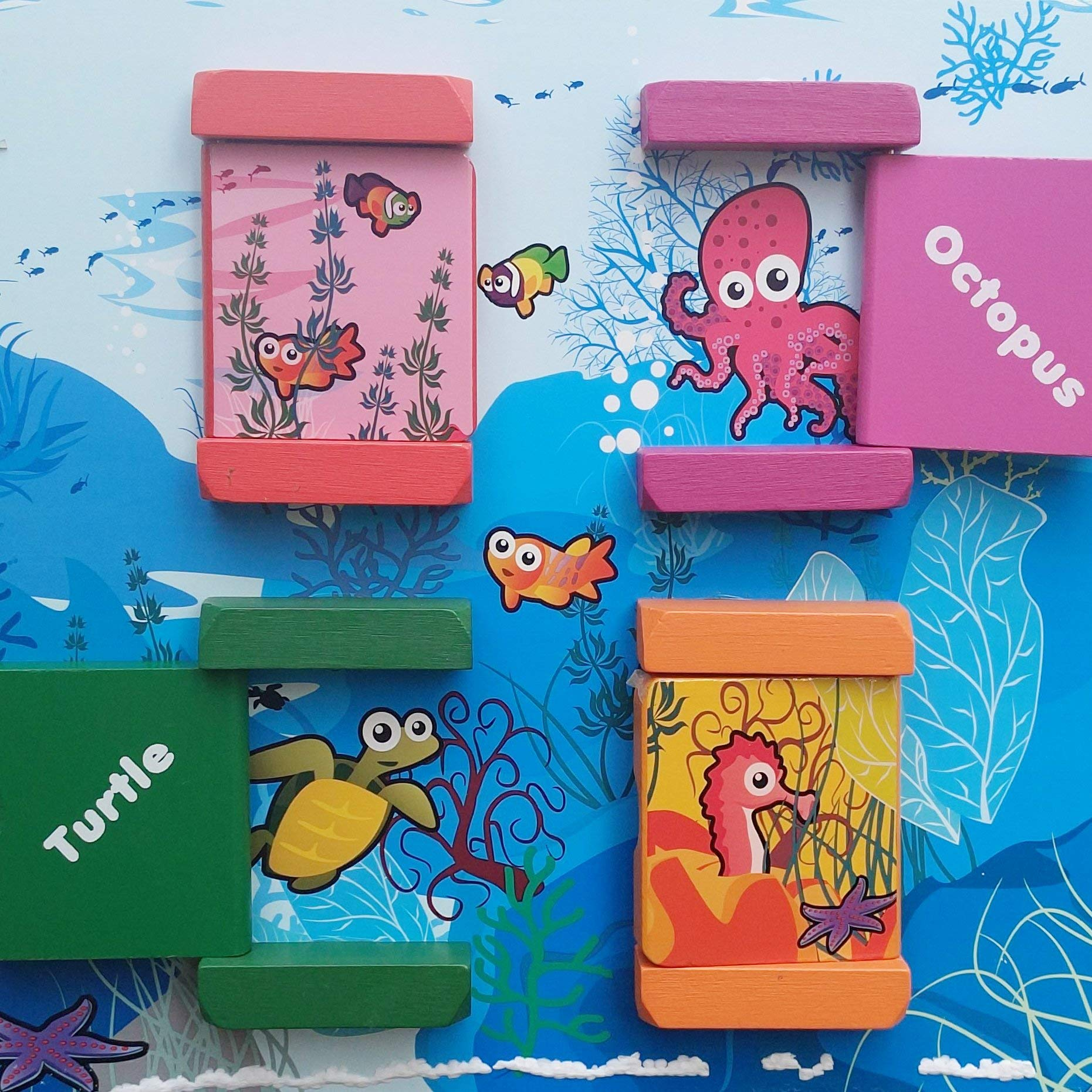 Under The Sea Adventures, Deluxe Activity Wooden Maze Cube - Perfect for Kids Play, Musical Activity, and Toddlers Early Developmental Skills by Pidoko Kids (Image #7)