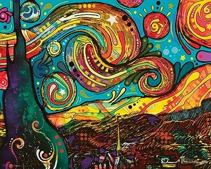 Amazon.com: Dean Russo Van Gogh Starry Night Modern Art Decorative ...
