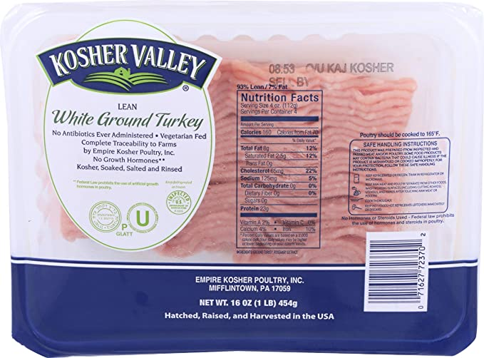 Kosher Valley Turkey Breast Ground Tray Pack Amazon In Grocery Gourmet Foods