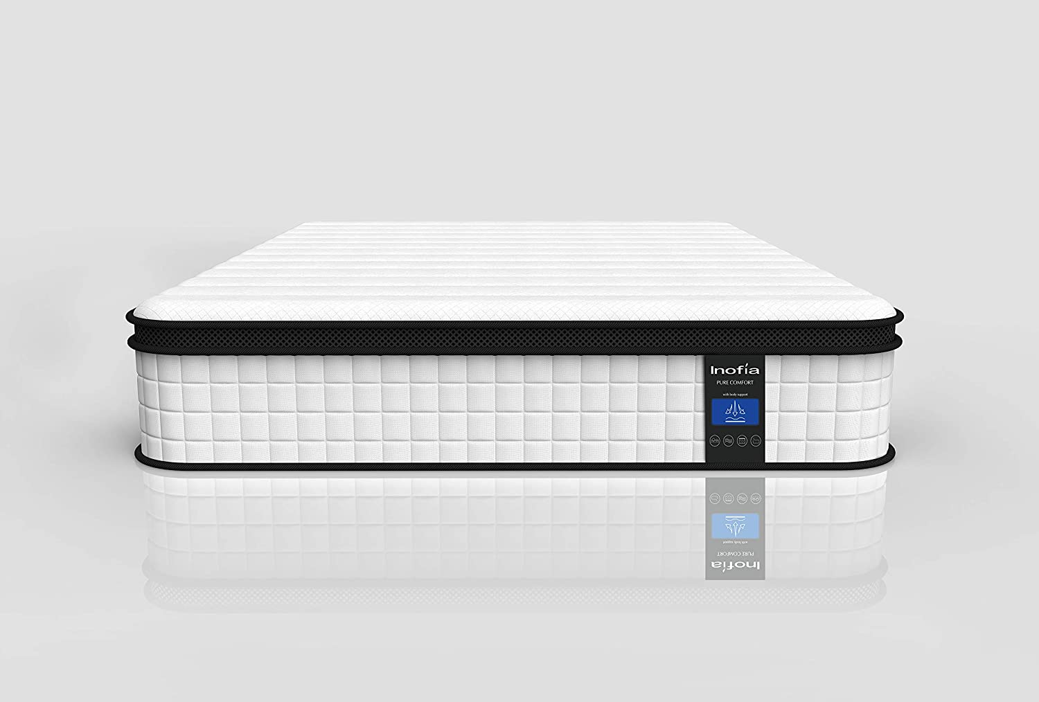 90x190x27cm Inofia Single Memory Foam Sprung Mattress 10.6 Inch,3FT Spring Mattress with Innovative Wave Memory Foam and Soft Knitted Fabric,The Elegant Collection,Risk-free100 Night Trial