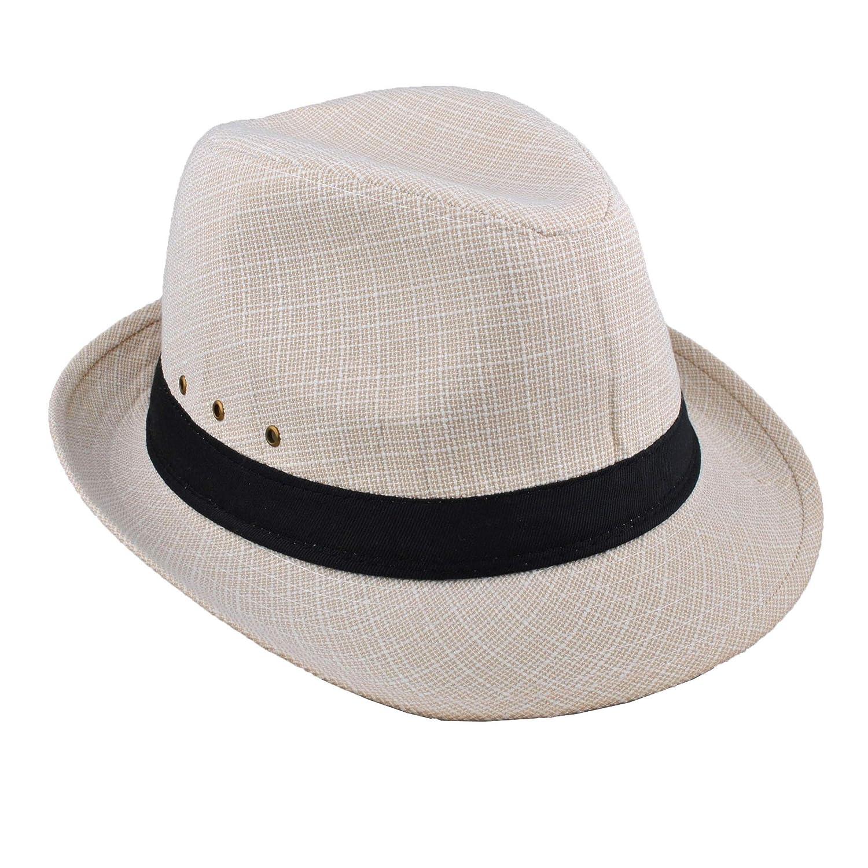 EINSKEY Mens Panama Hat Unisex Summer Striped Cotton Federa Trilby Sun Hat
