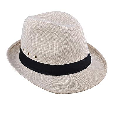 859922e7d59 EINSKEY Mens Panama Hat Unisex Summer Striped Cotton Federa Trilby Sun Hat