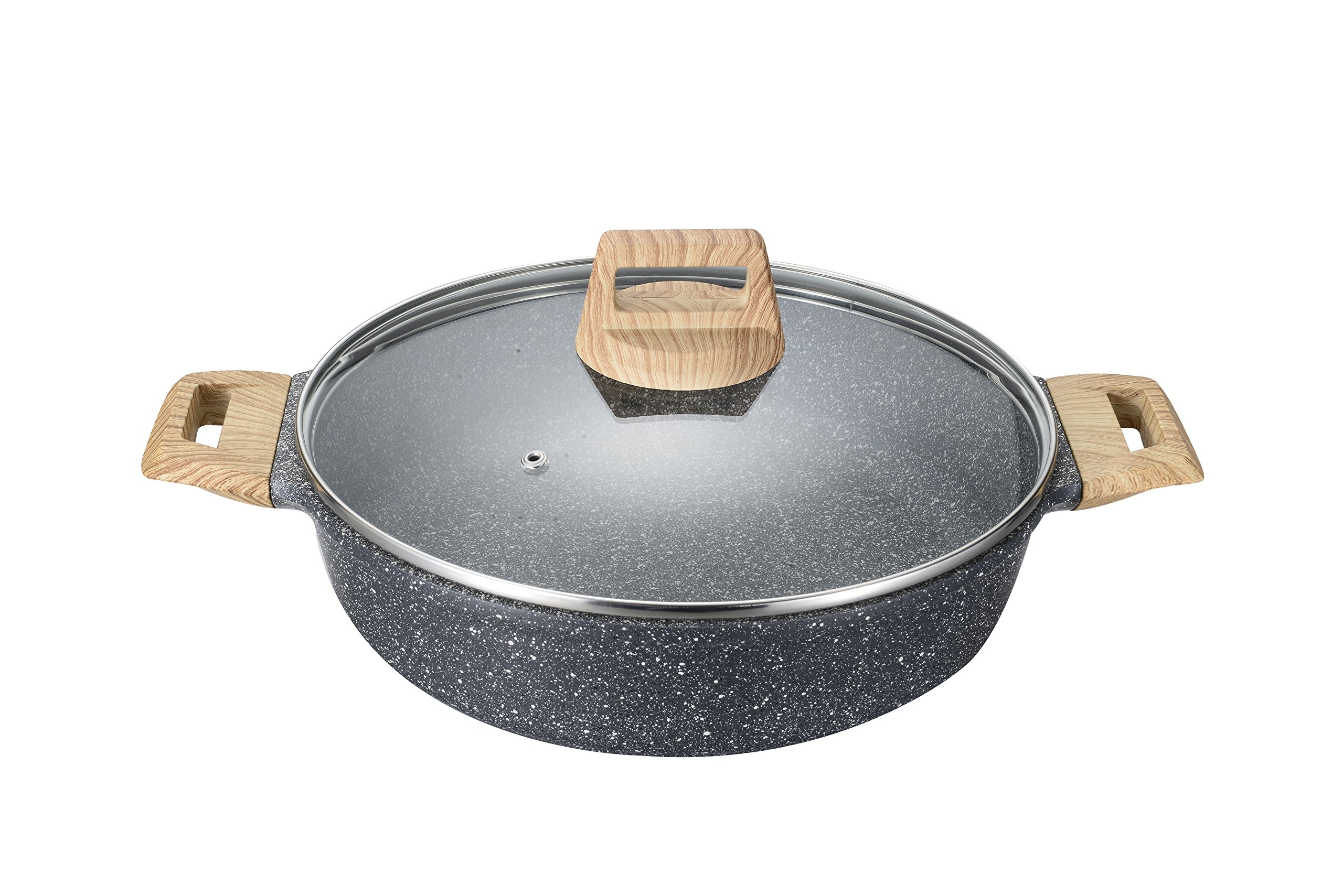 Carote 9.5 Inch/3 Quart Low Casserole PFOA Free Stone-Derived Non-Stick Coating From Switzerland, With Lid,Wood Effect Handle,Suitable For All Stove Including Induction