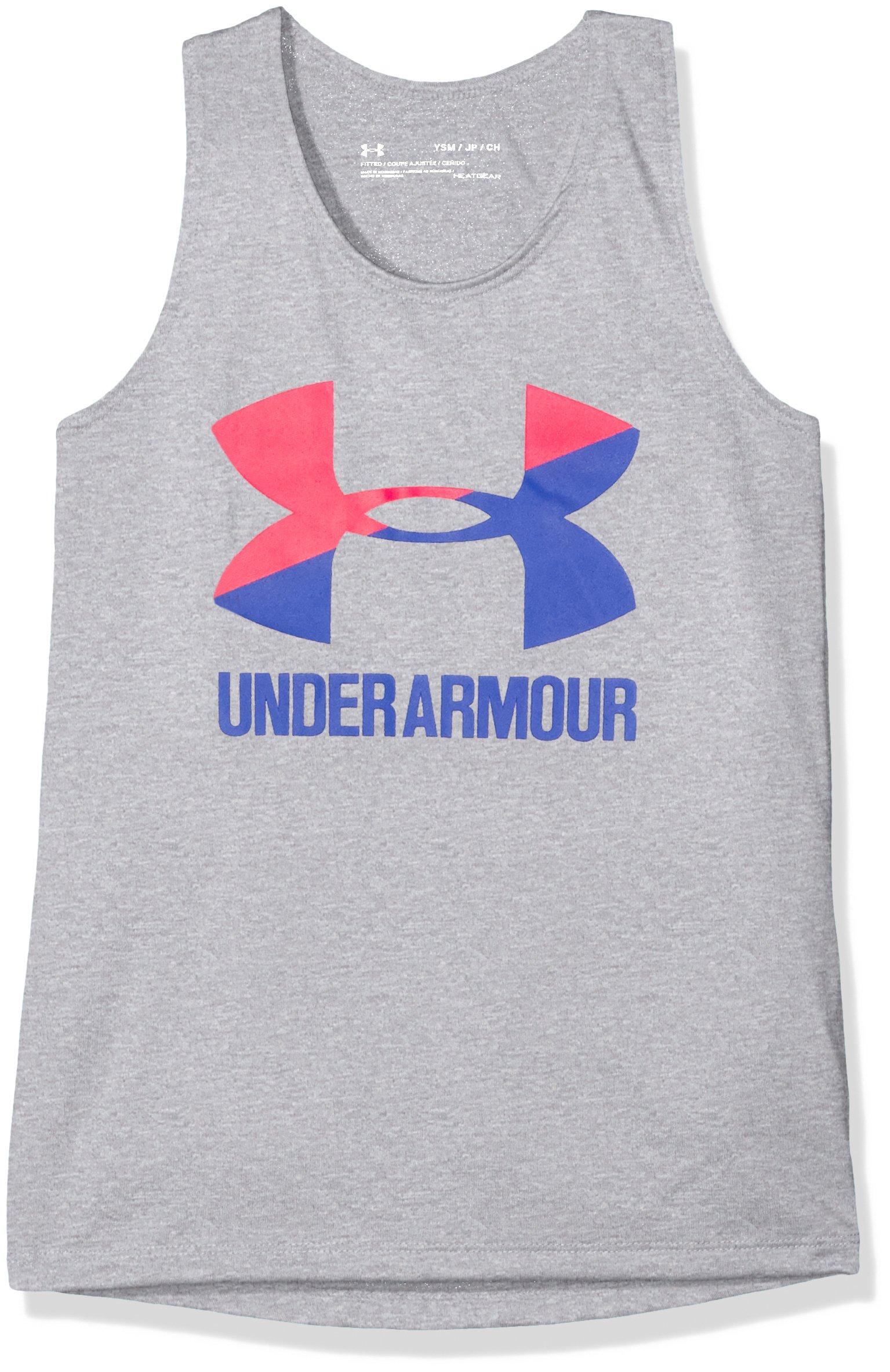 Under Armour Girls' Big Logo Slash Tank, Steel Light Heather , Youth Large