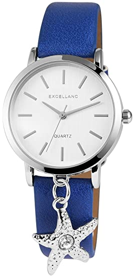 Reloj mujer Blanco Azul Ancla Analog piel Reloj de pulsera: Amazon.es: Relojes
