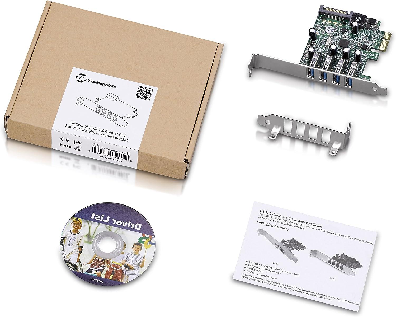 Tek Republic TR-PCIE-U34S00 PCI-E to USB 3.0 4 Port Express Card with low profile bracket