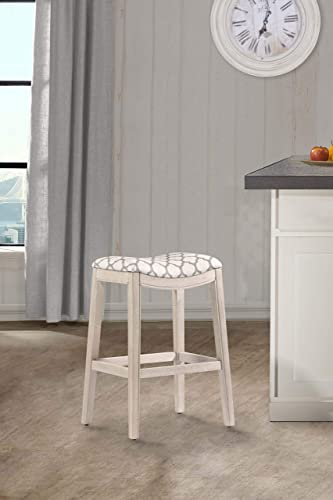 Hillsdale Sorella 26 Upholstered Counter Stool in White Wirebrush