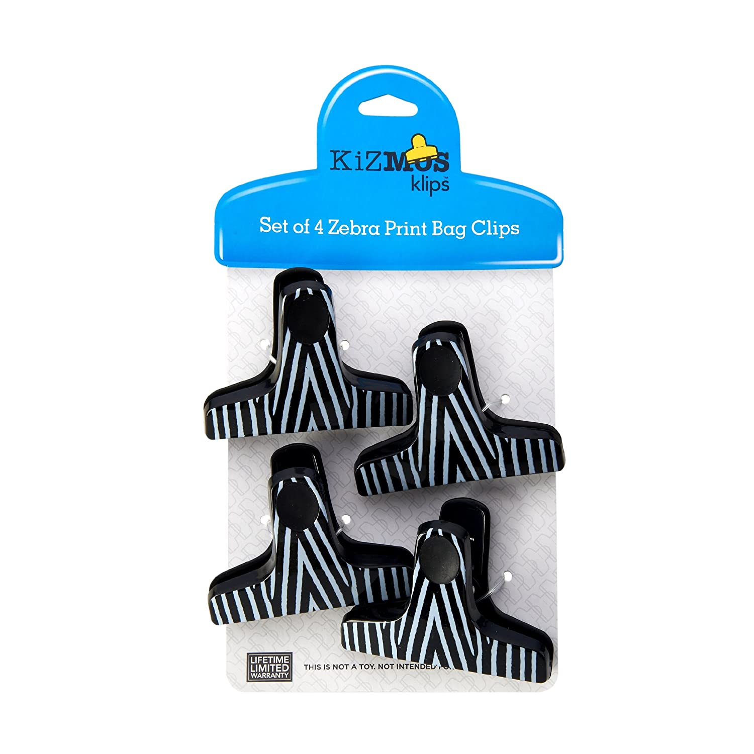Kizmos T-Shaped Zebra Print of Bag Clips (Set of Print 4) by Kizmos 79920c